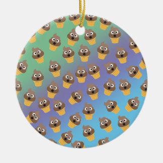 Cute Rainbow Poop Emoji Ice Cream Cone Pattern Round Ceramic Ornament