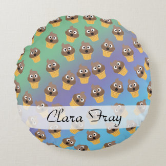 Cute Rainbow Poop Emoji Ice Cream Cone Pattern Round Pillow