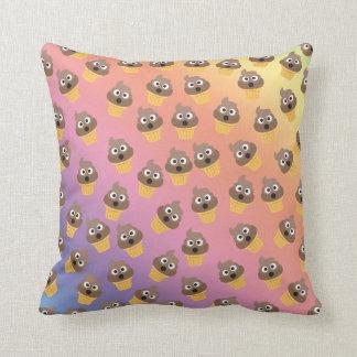 Cute Rainbow Poop Emoji Ice Cream Cone Pattern Throw Pillow