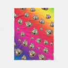 Cute Rainbow Poop Emoji Pattern Fleece Blanket
