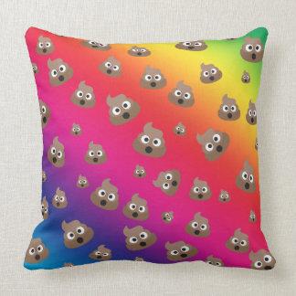 Cute Rainbow Poop Emoji Pattern Throw Pillow
