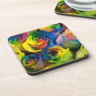 Cute Rainbow Roses Coasters