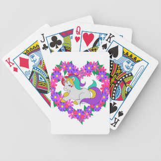 cute rainbow unicorn bicycle playing cards