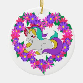 cute rainbow unicorn ceramic ornament