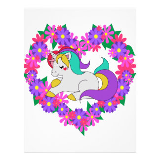 cute rainbow unicorn letterhead