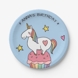 Cute Rainbow Unicorn on Birthday Cupcake Paper Plate