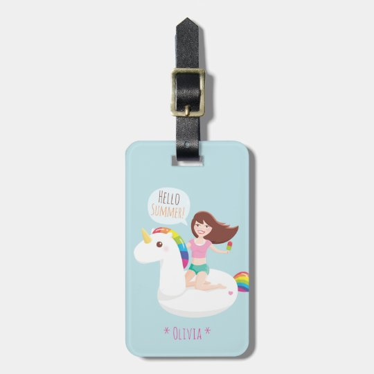 Cute Rainbow Unicorn Pool Float Summer Vacation Luggage Tag