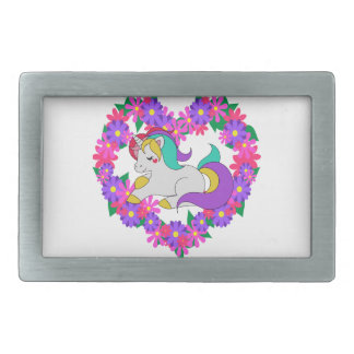 cute rainbow unicorn rectangular belt buckle