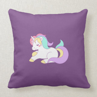 Cute Rainbow Unicorn Throw Pillow