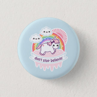 Cute Rainbow Unicorn with Clouds 1 Inch Round Button