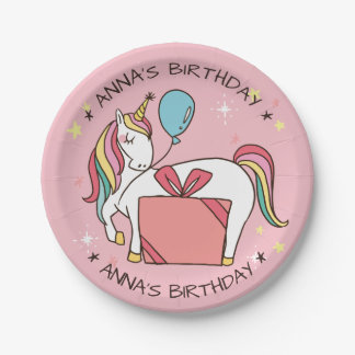 Cute Rainbow Unicorn with Gift and Balloon Paper Plate