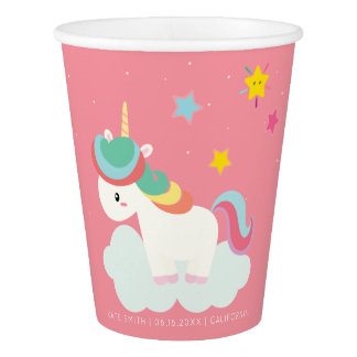 Cute Rainbow Unicorn with Stars. Birthday. Paper Cup