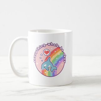 Cute Rainbow Whale Coffee Mug