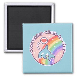 Cute Rainbow Whale Magnet