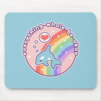 Cute Rainbow Whale Mouse Pad