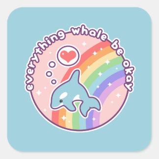 Cute Rainbow Whale Square Sticker