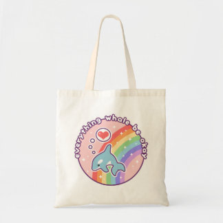 Cute Rainbow Whale Tote Bag