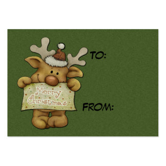 Cute Raindeer Holiday Tags Large Business Cards (Pack Of 100)