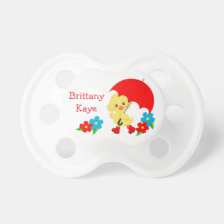 Cute Rainy Day Yellow Duck Personalized Pacifier