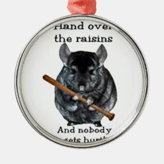 Cute Raisin Mean Chinchilla Silver-Colored Round Ornament