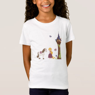 Cute rapunzel tower and horse girl's t-shirt