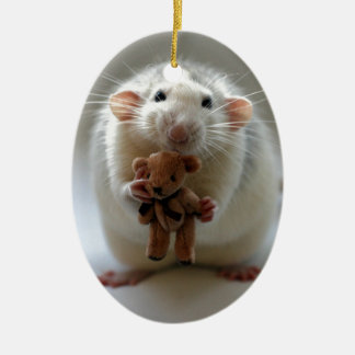 Cute Rat Holding teddy Ceramic Ornament