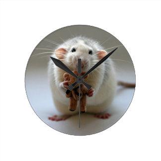 Cute Rat Holding teddy Round Clock