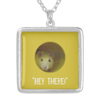 Cute Rat in a Hole Funny Animal Silver Plated Necklace