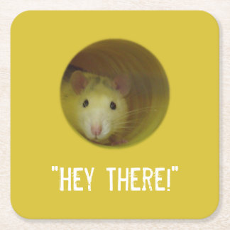 Cute Rat in a Hole Funny Animal Square Paper Coaster