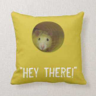 Cute Rat in Hole Funny Animal Throw Pillow