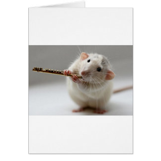 Cute rat playing flute card