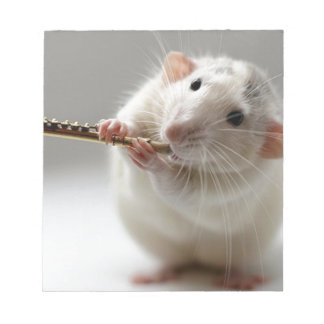 Cute rat playing flute notepad