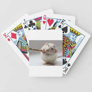 Cute rat playing flute poker deck