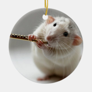 Cute rat playing flute round ceramic ornament