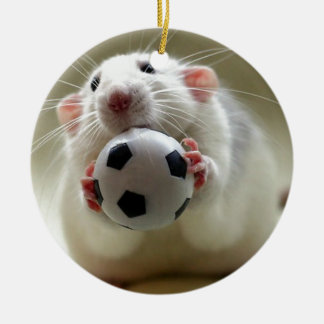 Cute rat playing soccer ceramic ornament