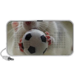 Cute rat playing soccer travelling speakers