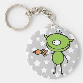 Cute Ray Gun Alien Basic Round Button Keychain