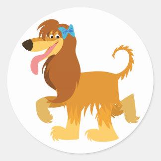 Cute Ready Cartoon Afghan Hound Sticker