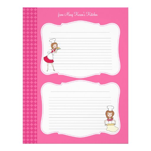 Cute Recipe Pages for Binders Letterhead