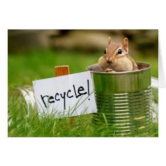 Cute Recycling Chipmunk Card