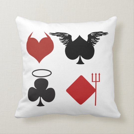 Cute Red and Black Angels and Devils Suit of Cards Throw Pillow