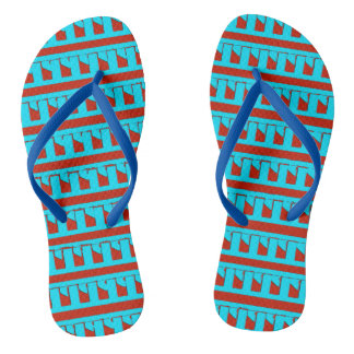 Cute Red and Blue Modern Pattern Flip Flops