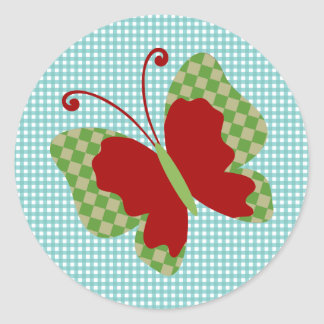 Cute Red and Green Gingham Butterfly Round Sticker