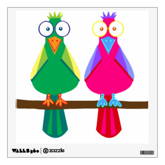 Cute red and green parrots wall decal