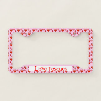 Cute Red and Pink Hearts and Paw Prints Pet Rescue License Plate Frame