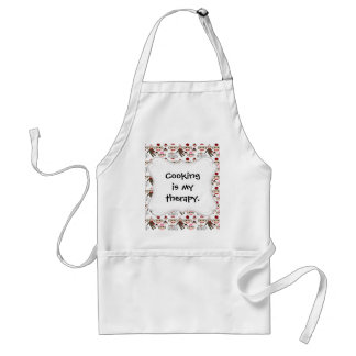 Cute Red and Pink Sock Monkeys Collage Pattern Adult Apron