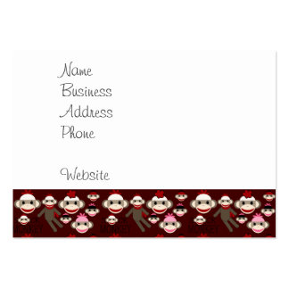 Cute Red and Pink Sock Monkeys Collage Pattern Large Business Cards (Pack Of 100)