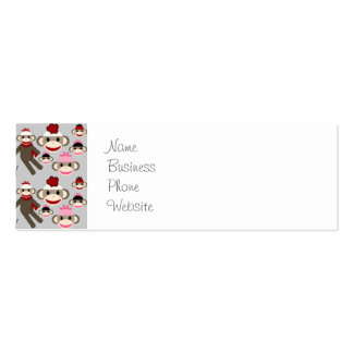 Cute Red and Pink Sock Monkeys Collage Pattern Double-Sided Mini Business Cards (Pack Of 20)