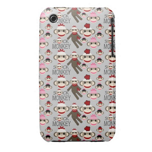 Cute Red and Pink Sock Monkeys Collage Pattern iPhone 3 Covers