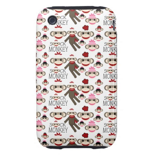 Cute Red and Pink Sock Monkeys Collage Pattern iPhone 3 Tough Cases